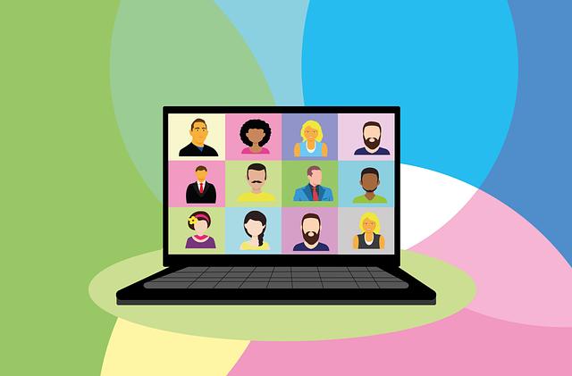 tela de computador com amigos virtuais