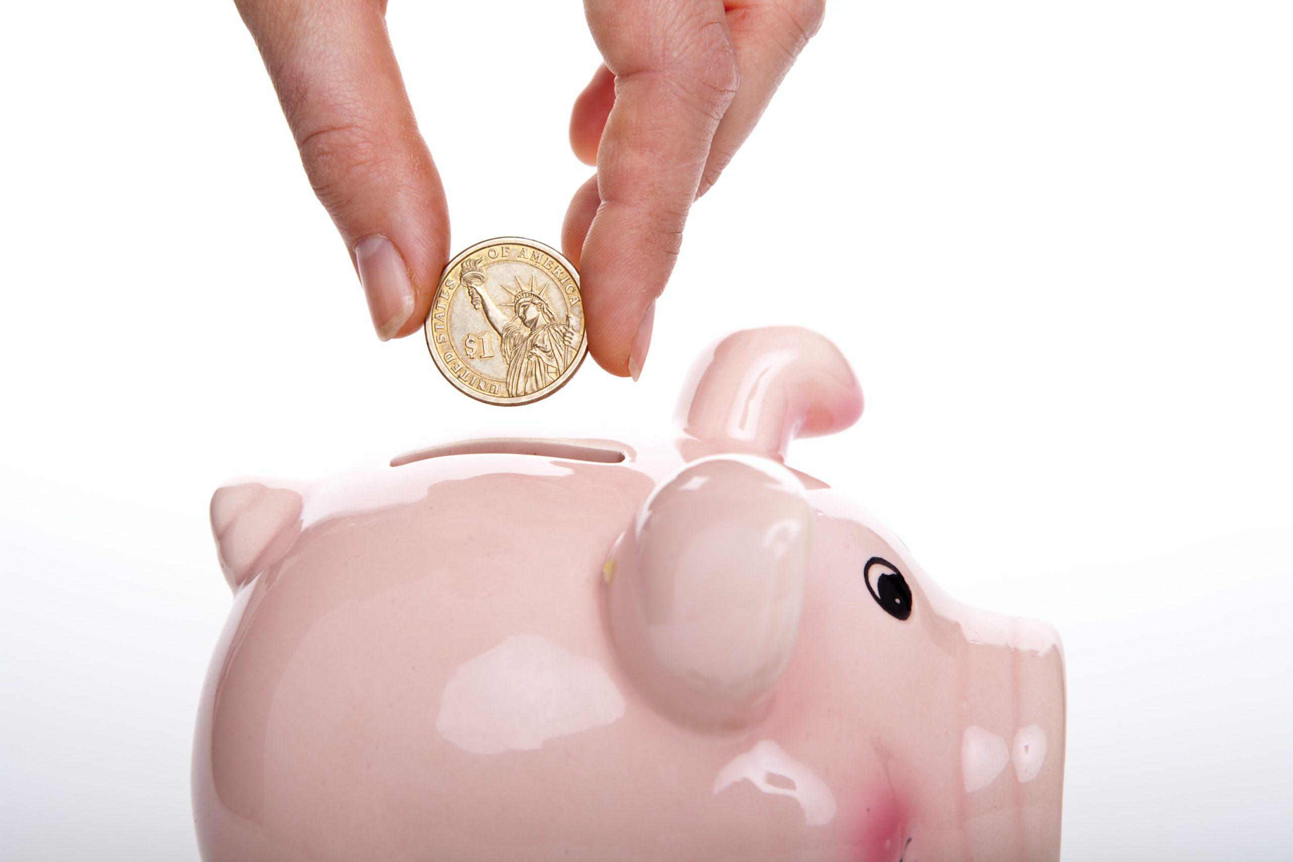 pessoa colocando moeda em um cofrinho de porco